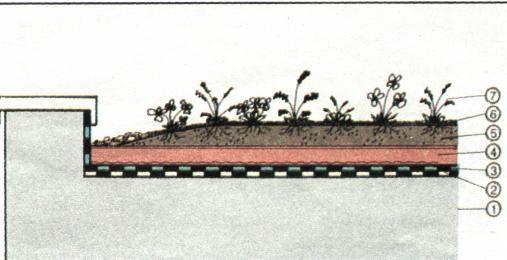 Zahrada na střeše Řez střešní konstrukcí